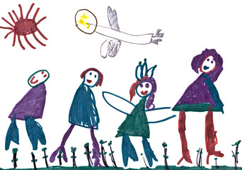 child's drawing - happy family and andel