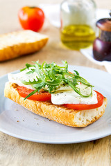 Mozzarella with rocket sandwich