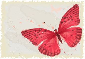 Background with red butterfly in watercolor technique