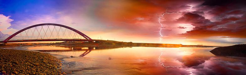 Color Red Bridge Sunset
