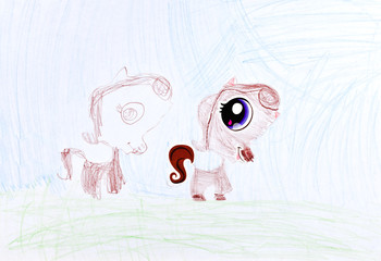child's drawing - two pony