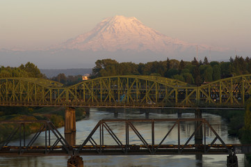Railroad and Car Bridges Puyallup River Mt. Rainier Washington
