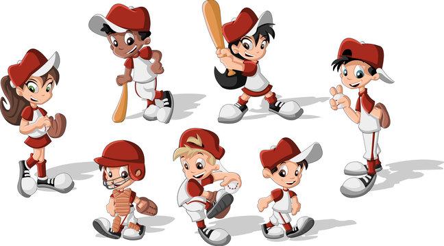 Cartoon children wearing baseball uniform