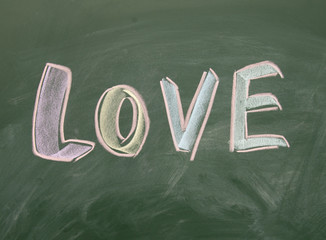 love title drawn with chalk on blackboard