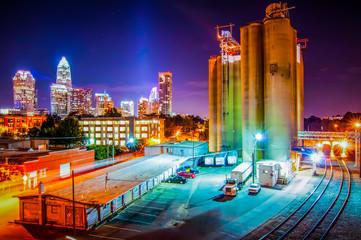 Fotobehang Aziatische Plekken Charlotte City Skyline night scene