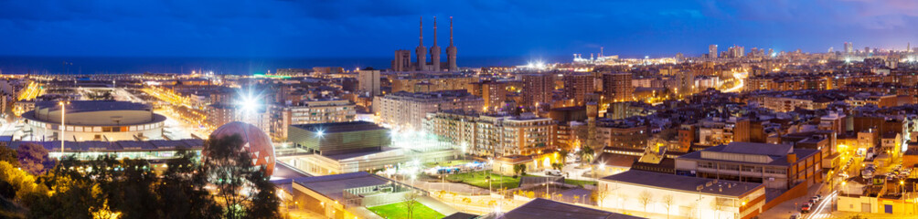Panoramic night view of Barcelona. Catalonia