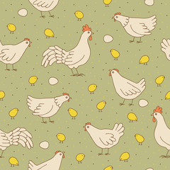 Seamless texture with cocks, hens and chicks.