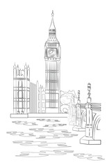 London City Landscape with Big Ben View - vector sketch