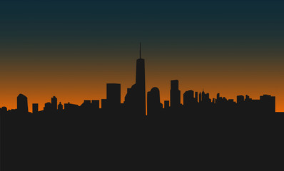 Modern city scape at sunset