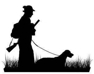 Silhouette Jäger mit Hund