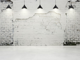 grungy wall with lamps