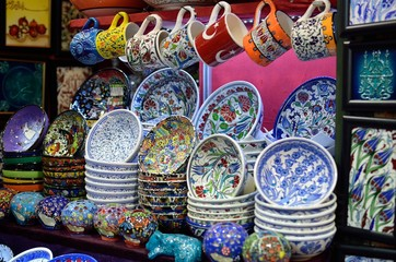 Typical dishes with colorful decoration for sale at market