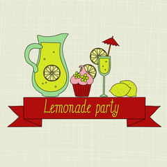 Lemonade party vector retro invitation