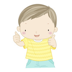 illustration of a confident boy showing thumbs up isolated one w