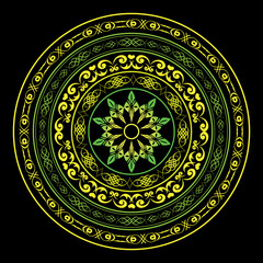yellow and green round ornament on black - vector