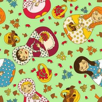 Seamless pattern of Russian dolls matrioshka