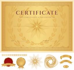 Certificate / Diploma template. Guilloche pattern, borders