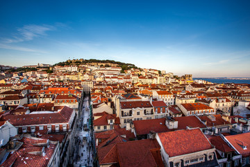 Skyline Lisbon including Castelo Sao Jorge