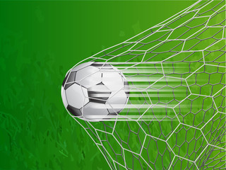 soccer ball in goal with speed line - vector illustration