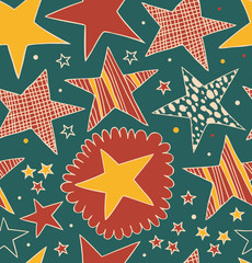 Seamless abstract pattern with stars