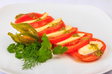 Greek classic summer salad of tomatoes and cheese feta