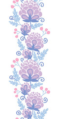 Vector Soft purple flowers vertical seamless pattern background