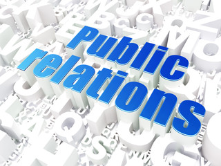 Marketing concept: Public Relations on alphabet background