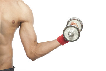 Male working out with dumbbells