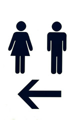 Toilet Sign with left arrow