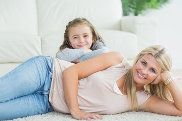 Daughter and mother relaxing together