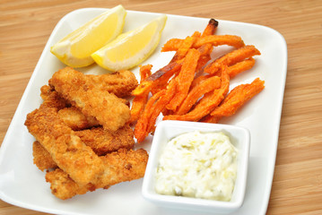 Healthy Baked Fish Stick Dinner with Sweet Potato Fries