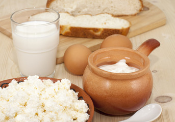 Breakfast  country style with cottage cheese, milk, eggs and br