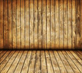 Dark vintage room with old wooden floor