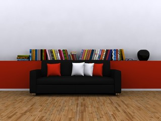 Living room with library