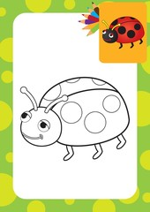 Ladybug toy. Coloring page. Vector illustration