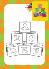 Coloring page. Letter cubes toys. Vector illustration