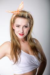 beautiful blonde woman retro styling