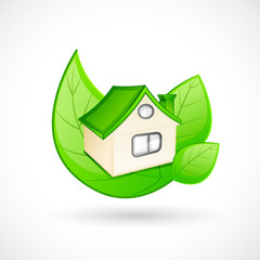 vector illustration of green house concept with leaf