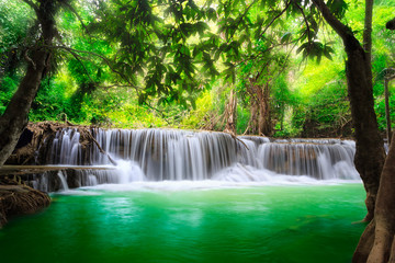 Wall Murals Green Thailand waterfall in Kanjanaburi