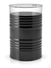 Transparent barrel filled with oil to the top
