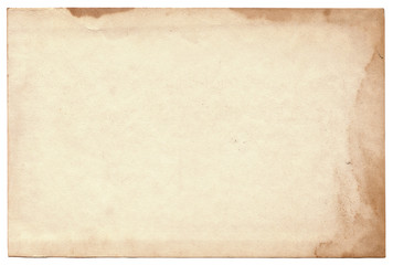 Old photo on white background. Vintage empty postcard texture