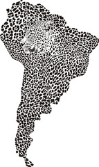 Jaguar on the map of South America