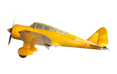 old classic yellow plane isolated white