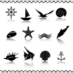 Icons sea and marine life. EPS 10