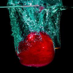 Printed roller blinds Splashing water Red apple and water splashing