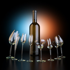 Bottle Of Wine With Glassfuls On Artistic Background