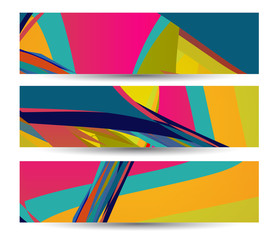 Retro abstract banner for your design, colorful digital