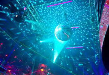 Mirror ball in a nightclub