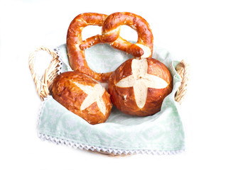 Traditional german pretzel bun