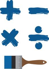 Paintbrush with painted math symbols